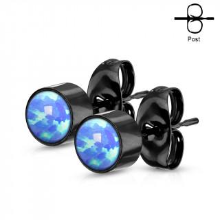 Clous d'oreilles cylindriques noires à Opales Bleues (paire)