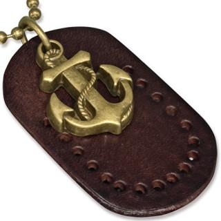 Collier avec chaine à billes et ancre de marine sur cuir