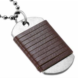 Collier avec chaine à billes et plaque à bandes de cuir