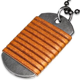 Collier avec chaine à billes et plaque militaire entourée de cuir