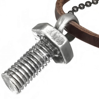 Collier avec cordon de cuir et boulon en pendentif