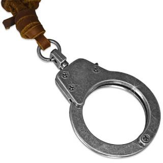 Collier avec cordon de cuir et menotte en pendentif