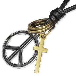 Collier avec cordon de cuir à pendentifs croix et peace and love
