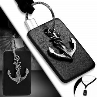 Collier cordon et plaque cuir à ancre marine métal