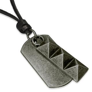 Collier cuir avec plaque militaire et pyramides