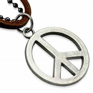 Collier cuir et métal avec symbole Peace and Love