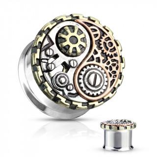 Ecarteur plug acier Yin et Yang Steampunk