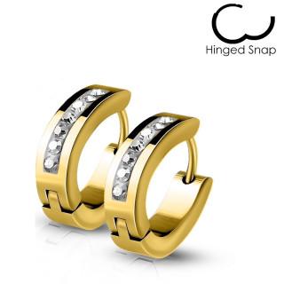 Fines boucles d'oreilles homme dorées en acier à 7 cristaux (paire)