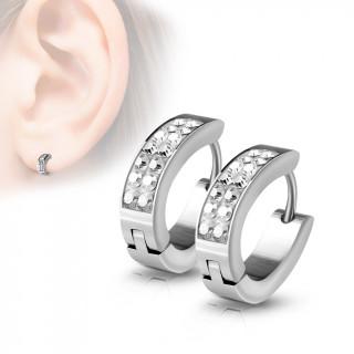 Fines boucles d'oreilles homme en acier à 7 cristaux (paire)