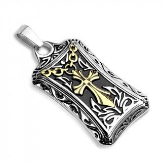Médaillon ceintré en acier à croix et reliefs celtiques