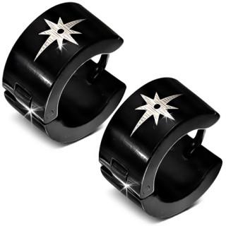 Paire de boucles d'oreilles larges noires en acier avec étoile polaire