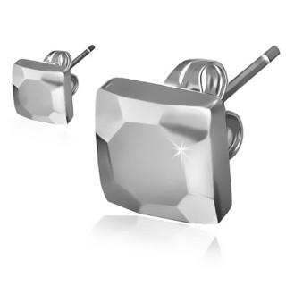 Paire de clous d'oreilles carrées martellés en tungstène