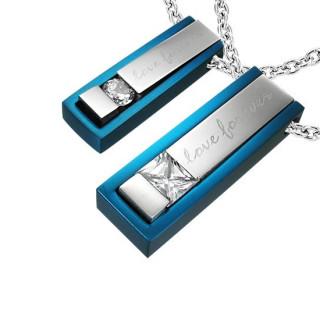 Paire de pendentifs acier sticks Love Forever