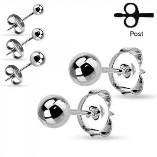 Paires de clous d'oreilles en acier à boules - Gris