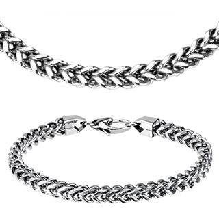 d139eb441d8 Vente Parure collier et bracelet acier à mailles en