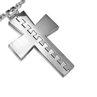 Pendentif acier croix dentée deux en une polie et brossée