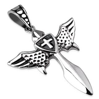 Pendentif acier épée ailée avec bouclier