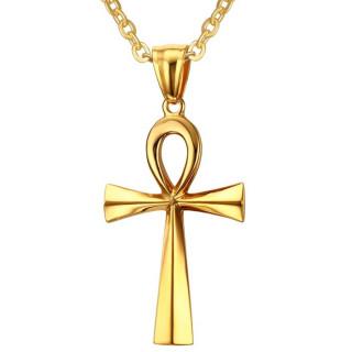 Pendentif croix égyptienne (Ânkh) dorée en acier