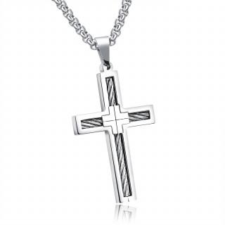 Pendentif croix en acier traversée de cables
