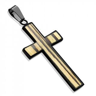 Pendentif croix noire en acier avec placage imitation bois
