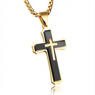 Pendentif croix triple en acier noir et doré
