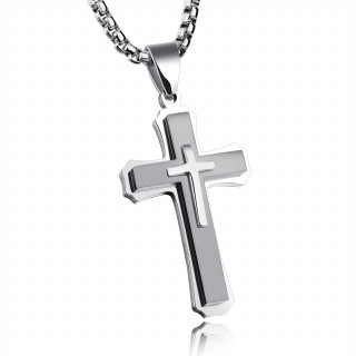 Pendentif croix triple en acier poli et brossé