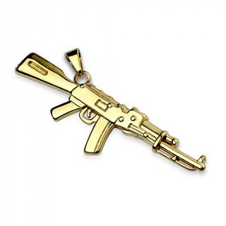 Pendentif fusil semi-automatique en acier doré