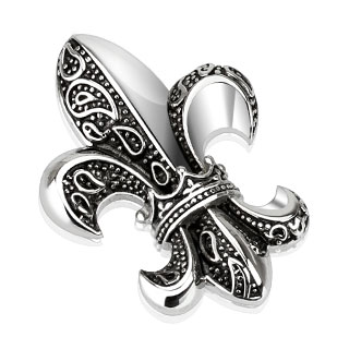 Pendentif gothique acier Fleur de Lys avec couronne