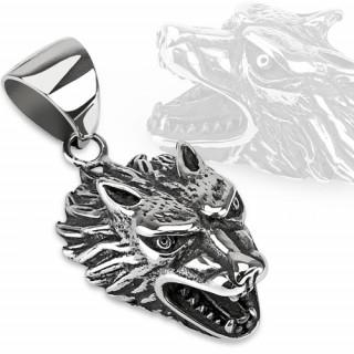 Pendentif gothique en acier loup féroce