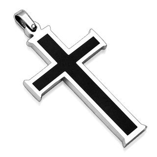 Pendentif homme acier croix silver et noire