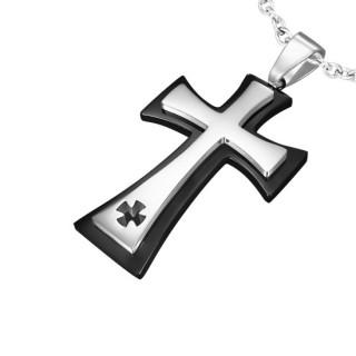 Pendentif homme acier croix superposées et croix maltaise