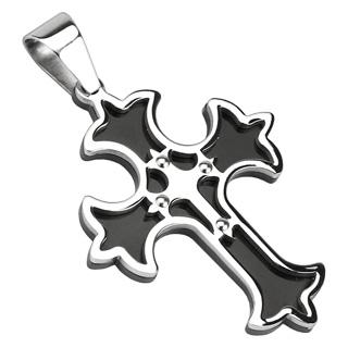 Pendentif homme acier noir et argenté à double croix médiévale