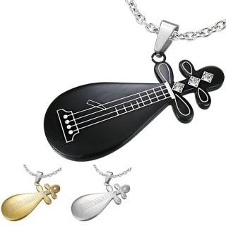 Pendentif homme acier Guitare chinoise