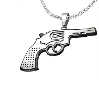 Pendentif homme acier Pistolet noir