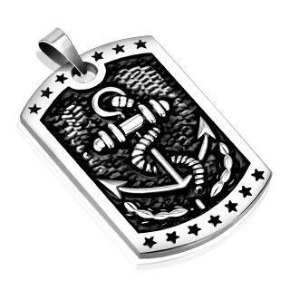 Vente pendentif homme acier plaque ancre de marine encord e - Plaque acier 5mm ...