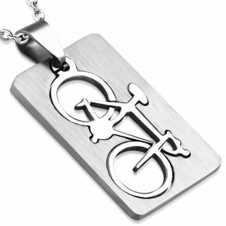 Pendentif homme acier plaque vélo à bords arrondie