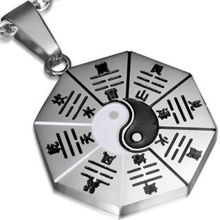 Pendentif homme acier Yin et Yang sur octogone
