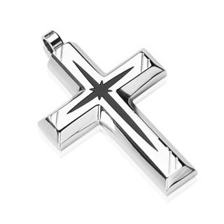 Pendentif homme croix acier motif étoile noire