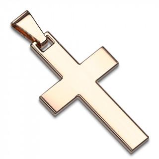 Pendentif homme croix latine en acier cuivré par ionisation