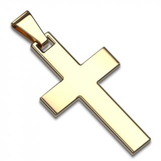 Pendentif homme croix latine en acier doré par ionisation