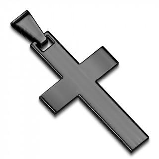 Pendentif homme croix latine en acier noir par ionisation