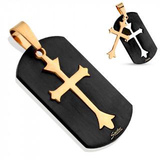Pendentif homme plaque avec croix modulable