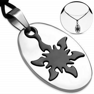 Pendentif homme plaque ovale à étoile ninja noire (+ cordon 40cm)