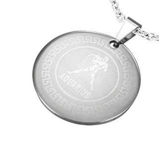 Pendentif médaillon astrologique Verseau