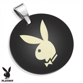 Pendentif médaillon noir en acier avec lapin Playboy (licence officielle)