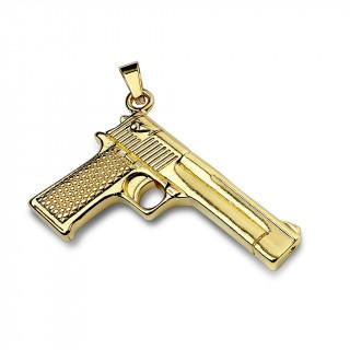 Pendentif pistolet semi-automatique en acier doré
