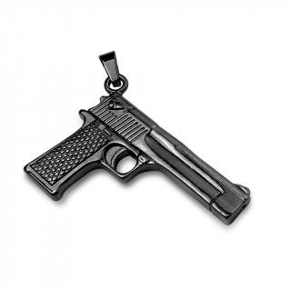 Pendentif pistolet semi-automatique en acier noir