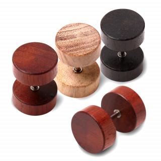 Piercing faux plug en acier et bois - 10mm