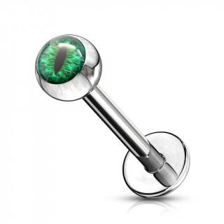 Piercing lèvre oeil de serpent - Vert