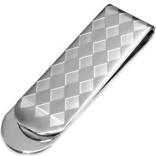 Pince à billet en acier argenté à motif arlequin